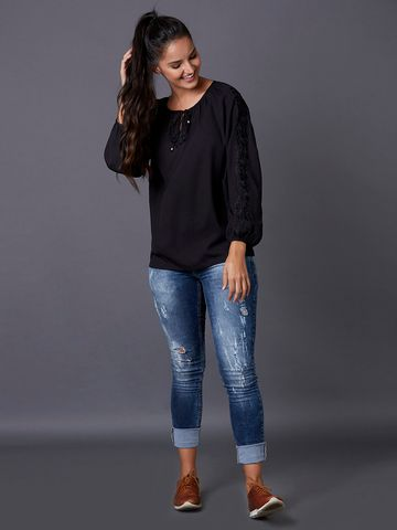 MARCA DISATI | Embroidered Sleeves Peasant Top