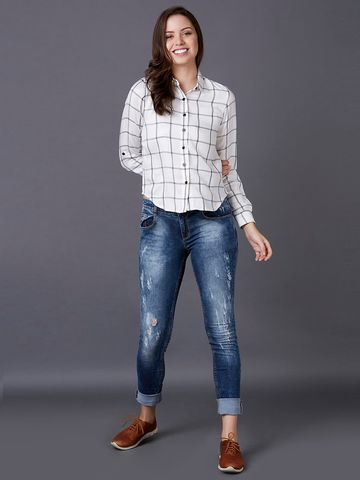 MARCA DISATI | White Checked Casual Shirt