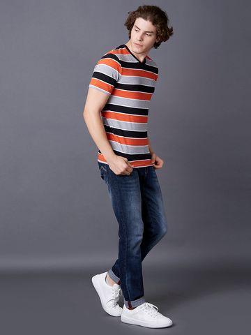 MARCA DISATI | Orange Striped T-Shirt