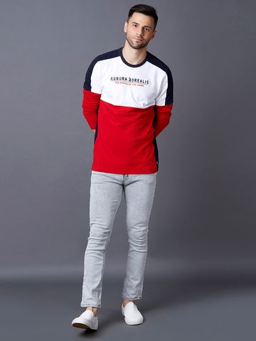 MARCA DISATI | Red and White Colourblock T-Shirt
