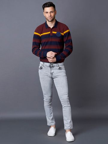 MARCA DISATI | Wine Striped Polo T-Shirt