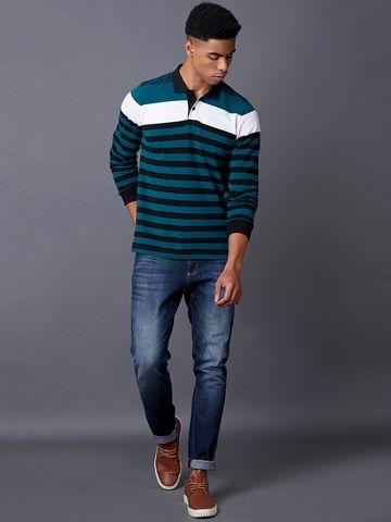 MARCA DISATI | Teal Striped Polo T-Shirt