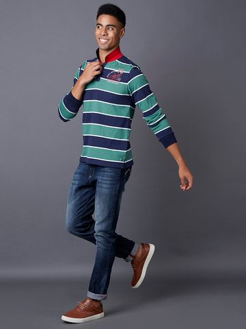 MARCA DISATI | Green and Blue Striped Polo T-Shirt