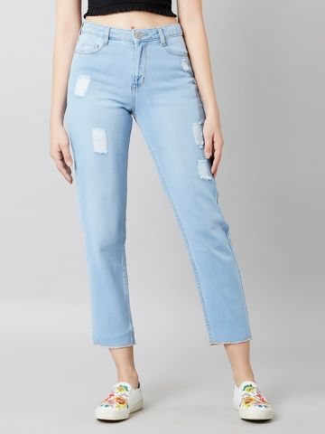 MARCA DISATI | Cropped Light Wash Boyfriend Jeans