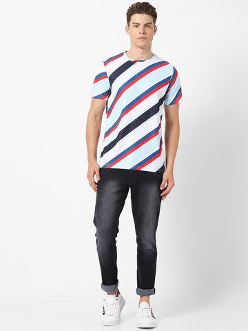 MARCA DISATI   Diagonal Striped Crew Neck T-shirt
