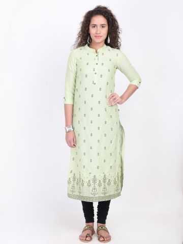 MARCIA | Marcia green printed cotton Kurta