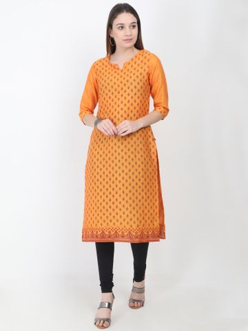 MARCIA | Marcia yellow printed cotton Kurta
