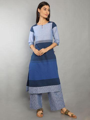 MARCIA | Marcia Blue Solid Cotton Kurta Set