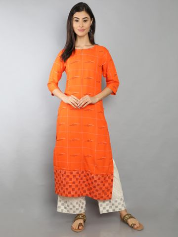 MARCIA | Marcia Orange printed Rayon Kurta Set
