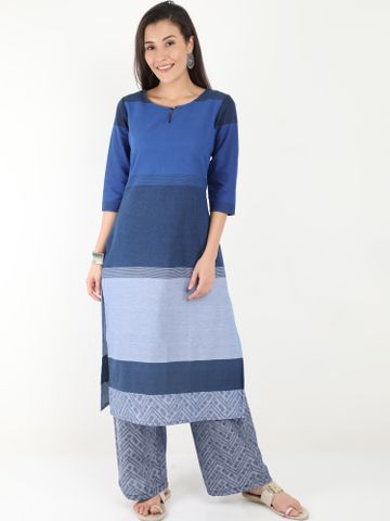 MARCIA | Marcia Blue Solid Cotton Kurta Set
