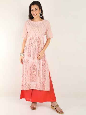 MARCIA | Marcia Peach printed Cotton Kurta Set