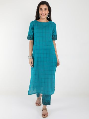 MARCIA | Marcia Blue printed Cotton Kurta Set