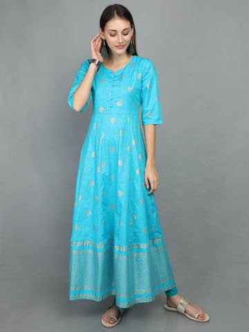 MARCIA | Marcia Blue Print Cotton Anarkali Kurta