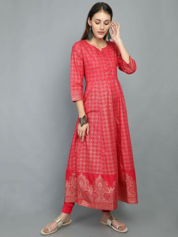 MARCIA | Marcia Red Print Cotton Anarkali Kurta