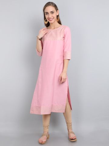 MARCIA | Marcia Pink solid Cotton Long Kurta