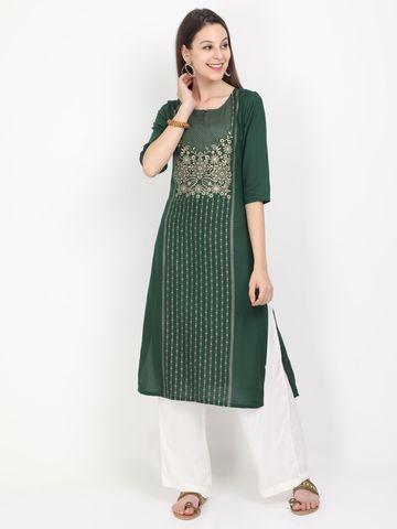 MARCIA | Marcia green printed three quarter sleeves rayon Long Kurta