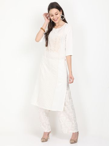 MARCIA | Marcia white printed three quarter sleeves rayon Long Kurta