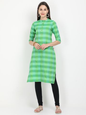 MARCIA | Marcia green solid three quarter sleeves cotton Long Kurta