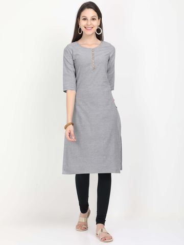 MARCIA | Marcia grey solid three quarter sleeves cotton Long Kurta