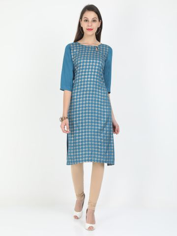 MARCIA | Marcia blue printed three quarter sleeves rayon Long Kurta