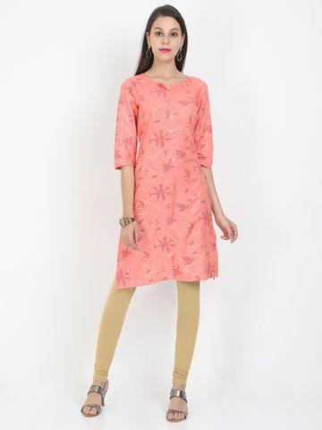 MARCIA | Marcia pink printed three quarter sleeves rayon Long Kurta
