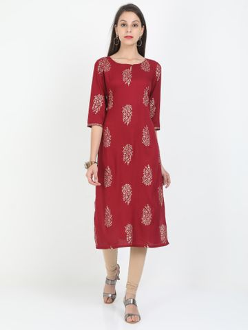MARCIA | Marcia maroon printed three quarter sleeves rayon Long Kurta