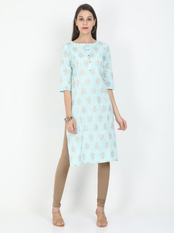 MARCIA | Marcia blue printed three quarter sleeves cotton Long Kurta
