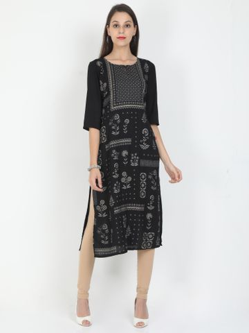 MARCIA | Marcia black printed three quarter sleeves rayon Long Kurta