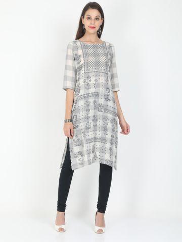 MARCIA | Marcia grey printed three quarter sleeves cotton Long Kurta