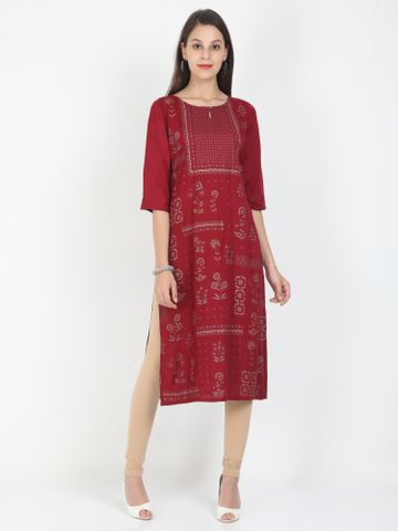 MARCIA | Marcia maroon printed three quarter sleeves rayon Long Kurta