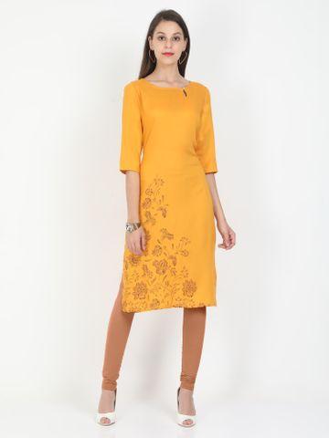 MARCIA | Marcia yellow printed three quarter sleeves rayon Long Kurta