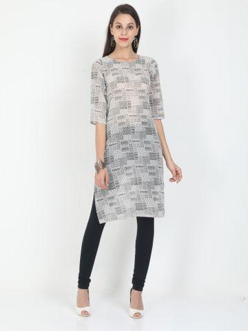MARCIA | Marcia grey printed three quarter sleeves chiffon Long Kurta