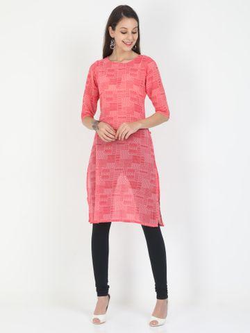 MARCIA | Marcia pink printed three quarter sleeves chiffon Long Kurta