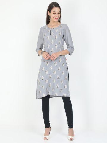 MARCIA | Marcia grey printed three quarter sleeves rayon Long Kurta