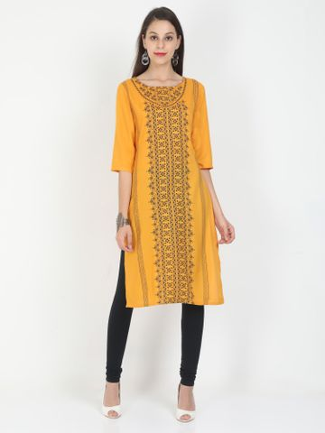 MARCIA | Marcia yellow printed three quarter sleeves rayon Long Kurta