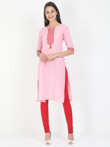 MARCIA | Marcia pink printed three quarter sleeves cotton Long Kurta