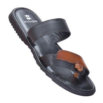 MASABIH | MASABIH Genuine Leather Men's Black & Tan Sandals