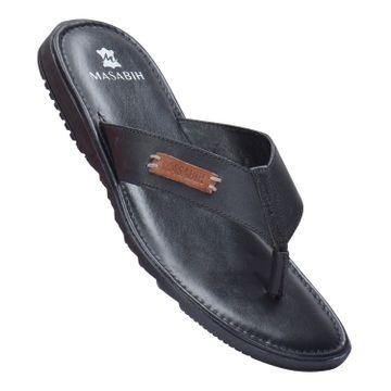 MASABIH | MASABIH Genuine Leather Men's Black & Cognac Sandals