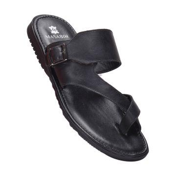 MASABIH | MASABIH Genuine Leather Men's Black Sandals