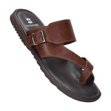 MASABIH | MASABIH Genuine Leather Men's Brown Sandals