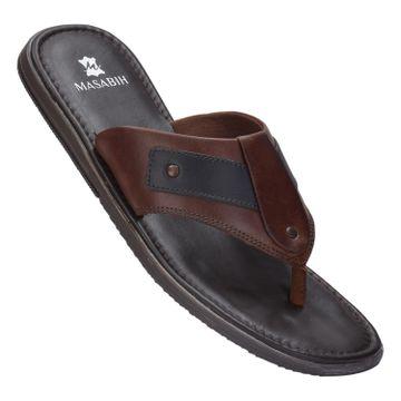 MASABIH | MASABIH Genuine Leather Men's Bown & Black Sandals