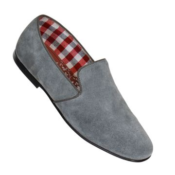 MASABIH   MASABIH Genuine Leather Men's Grey Slip Ons
