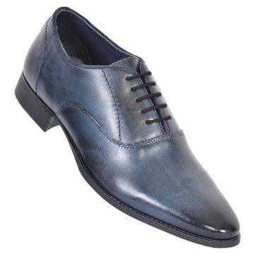 MASABIH | MASABIH Genuine Leather Men's Blue Lace-Up Formals