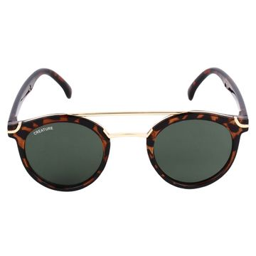 CREATURE | CREATURE Golden Stripped Round Sunglasses (Lens-Black|Frame-Golden)