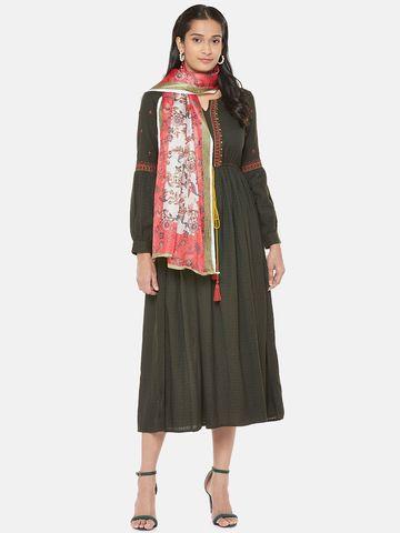 Ethnicity | Cotton Blend  Straight Women Coral Dupatta