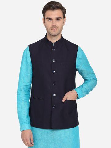 Modi Jacket | MJK074/1-PURPLISH BLACK TEXTURED