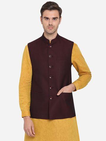 Modi Jacket | MJK073/1-MAROON BLACK TEXTURED
