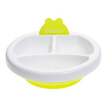 Mothercare | bbluv - Plato - Warming Plate - 3 Compartment, Non-Toxic, BPA Free with Suction Base (Lime)