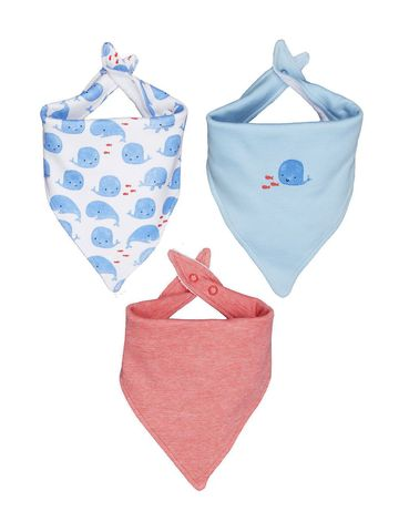 Mothercare   Boys Bibs Whale Print - Pack Of 3 - Blue Red White