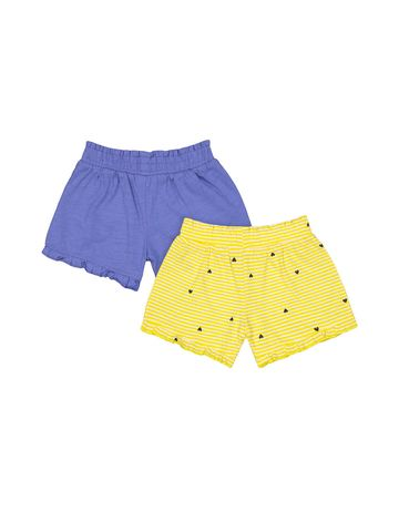Mothercare | Girls Stripe Frilled Jersey Shorts - Pack Of 2 - Multicolor